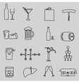 alcohol simple outline black icons set eps10 vector image