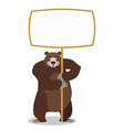 Bear and empty banner Wild animal and blank Beast vector image