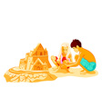 Building sand castle vector image