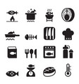 fish cooking icon set vector image