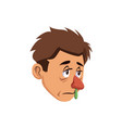 runny nose and sneezing a sick man image vector image