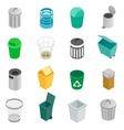 Trash can icons set isometric 3d style vector image