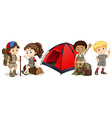 Children camping and hiking vector image