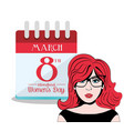 happy womens day international calendar vector image