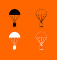 parachute with cargo black and white set icon vector image