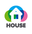 logo house on a background of colorful circles vector image vector image