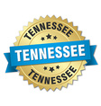 Tennessee round golden badge with blue ribbon vector image