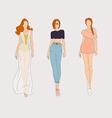 Hand drawn fashion models vector image