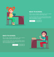 back to school template poster of pupils at desks vector image