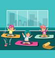 group of happy women doing yoga in a studio vector image
