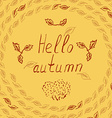 hello autumn leves sketch vector image