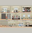 hotel interior set with reception vector image