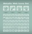 Metallic web icons set vector image