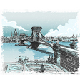Vintage Hand Drawn View of Lions Bridge in vector image