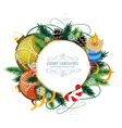 Christmas card with baubles and candle vector image
