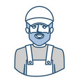 blue silhouette with half body of bearded delivery vector image