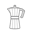 outline metal faceted coffee pot vector image