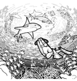 Graphic coral reef scuba divers and sharks vector image