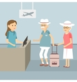 Senior Waiting Check In vector image vector image