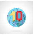 Birthday balloon numbers round flat icon vector image