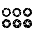 black camera shutter icons set on white background vector image