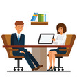 businessman and businesswoman discussion in office vector image