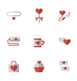 Flat color love relationship icons vector image