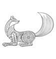 fox hand drawn zentangle artistic animal for adult vector image
