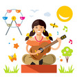 girl with a guitar flat style colorful vector image