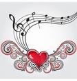 Grunge music heart vector image