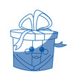 kawaii gift box party celebration cartoon icon vector image