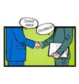 Partnership handshake to business success pop art vector image
