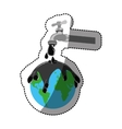 sticker watertap with earth contamination with vector image