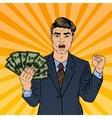Pop Art Rich Businessman Holding Money Dollars vector image
