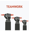 teamwork concept symbol office workers hand with vector image