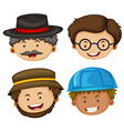 Four heads of male characters vector image vector image
