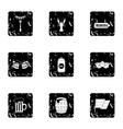 Alcoholic beverage icons set grunge style vector image