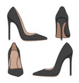 female black classic shoes with heels vector image