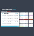 Calendar planner for 2018 starts sunday vector image