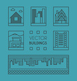 Set of Line Art of Buildings Thin Line Graphic vector image