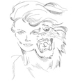 A woman and tiger in one guise vector image