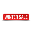 Winter sale red 3d square button isolated on white vector image