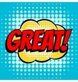 Great comic book bubble text retro style vector image