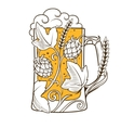 Beer mug abstract ornament vector image