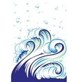 Blue high sea wave with bubbles vector image