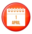 Calendar April 1 icon flat style vector image