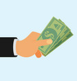 hands holding money bills flat style vector image