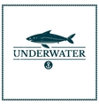 Label underwater fish vector image