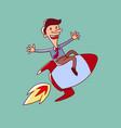 man on a rocket vector image