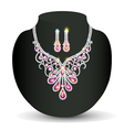 necklace with her wedding with pink vector image